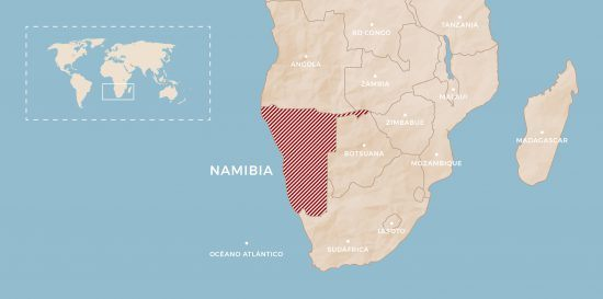 Mapa de Namibia, África