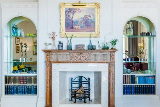 Fireplaces found at Ellerman House are always lit in winter.
