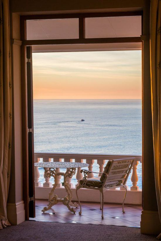 The sunset as seen from one of Ellerman House's rooms.