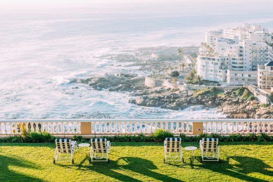 The view over the ocean and Atlantic Seaboard from the grounds at Ellerman House.