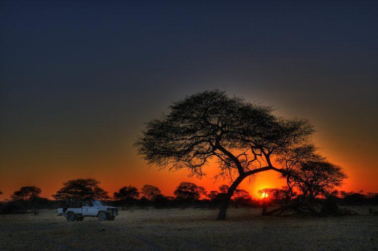 Sunset in Botswana at the Makgadikgadi Pans