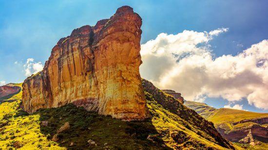 Varying sandstone colours of a rock face in Golden Gate Highlands National Park