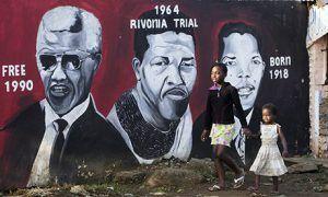 Oeuvre de street art à la mémoire de Nelson Mandela à Soweto