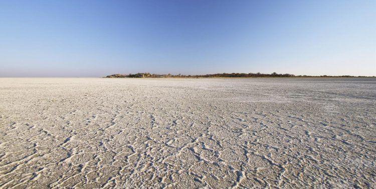 The Makadikgadi Salt Pans in the Kalahari Desert.
