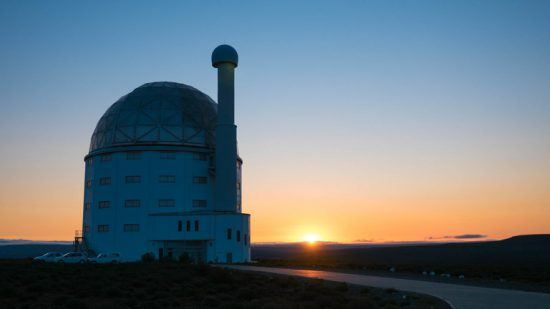 An African sunset behind the Sutherland Observatory