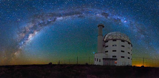 Sutherland's Observatory surrounded by stars at night