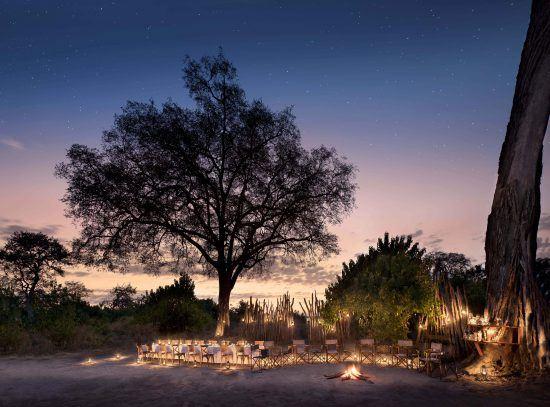 Dinner under the stars at Linyanti Bush Camp
