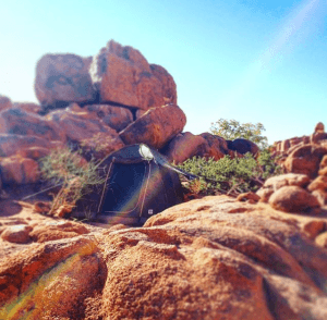 Pitched tent on a Namibian trek