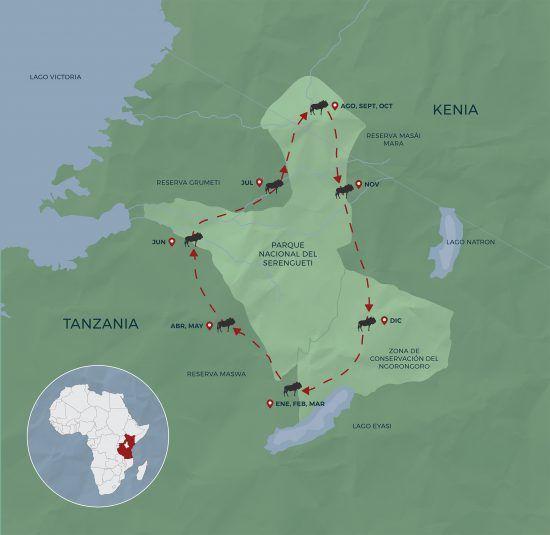 Mapa de la Gran Migración del Serengueti