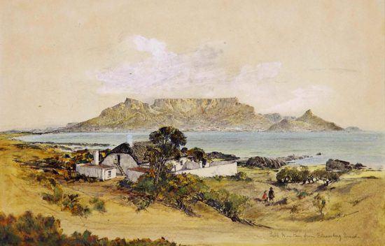 Table Mountain vista de Bloubergstrand, no século XIX
