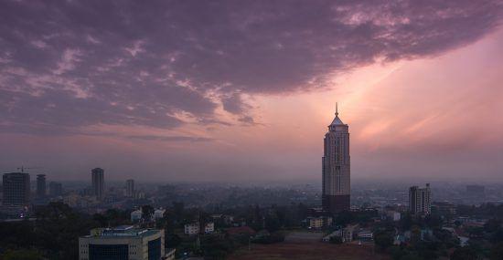 A panoramic view of Nairobi city at sunset
