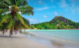 One of the scenic beaches of Praslin Island