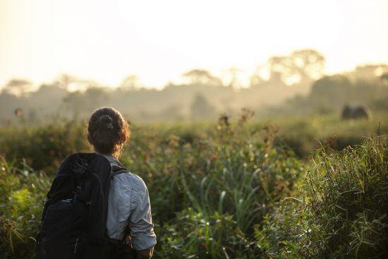 Frau mit Rucksack spaziert durch das dichtbewachsene Kongobecken
