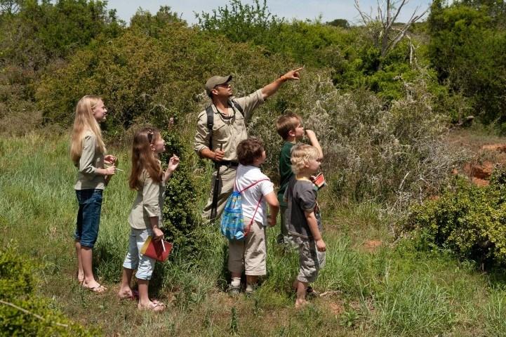 Kinder unternehmen im Kwandwe Private Game Reserve eine Buschwanderungen mit einem Guide