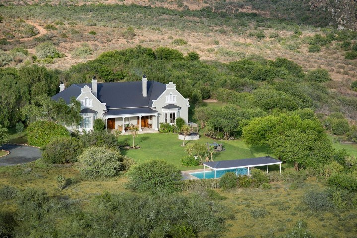 Die Villa Uplands Homestead im Kwandwe Private Game Reserve aus der Luft