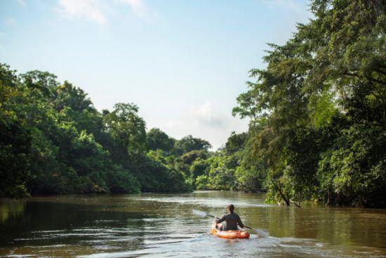 Eine Frau in einem orangenen Kajak auf einem Wasserweg im Regenwald der Republik Kongo
