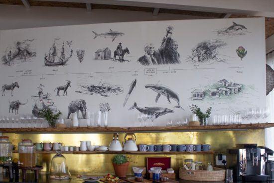 Timeline der Lekkerwater Beach Lodge im Essbereich der Unterkunft
