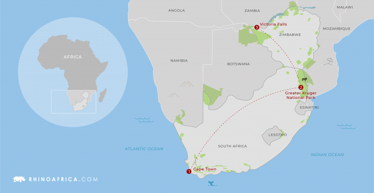 Cape Town, Kruger and Victoria Falls Map