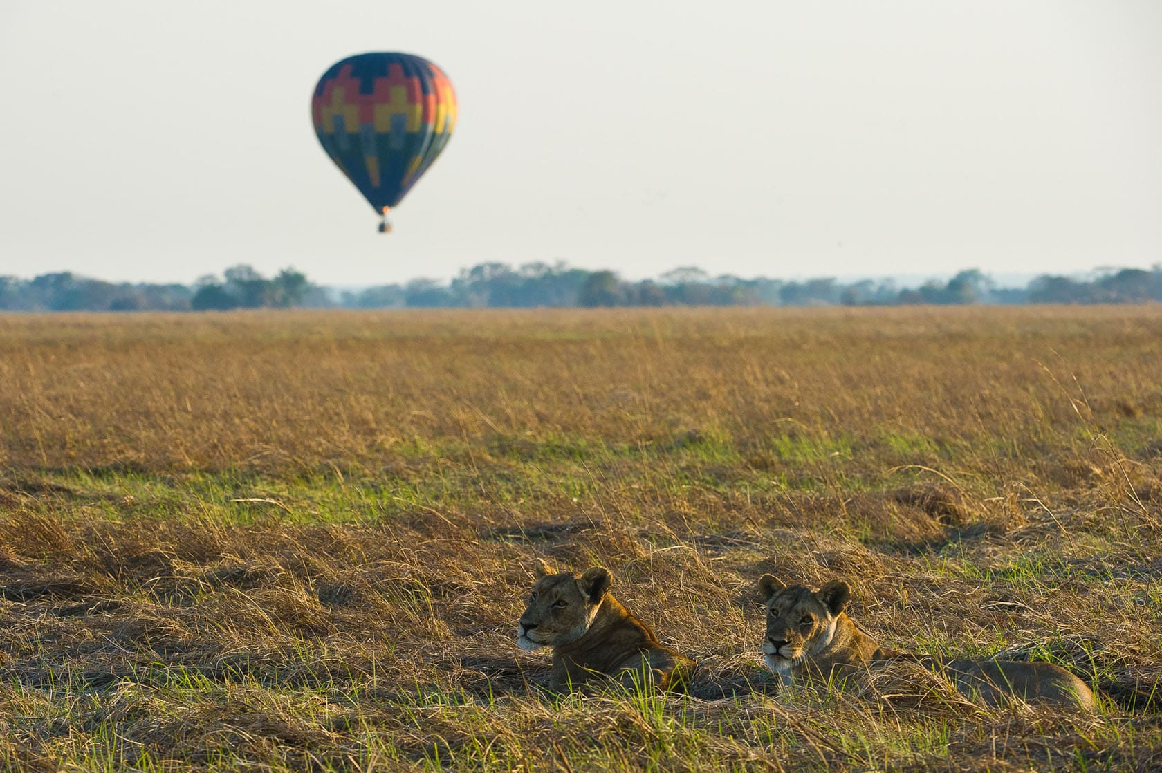 Hot air ballooning in Kafue National Park in Zambia
