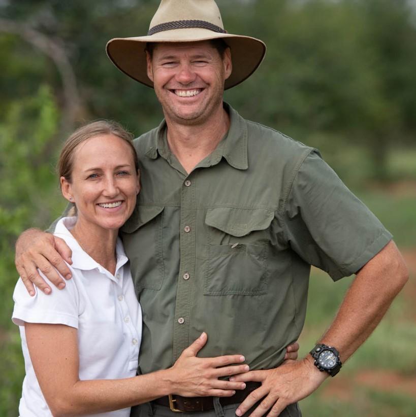 Managers at Senalala Safari Lodge, James and Corlia