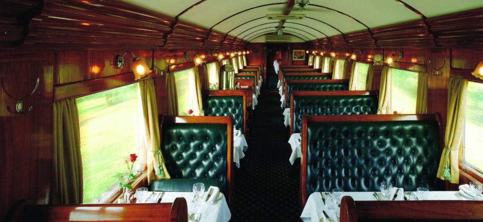 Interior of Luxury Dining Car in Rovos Rain train