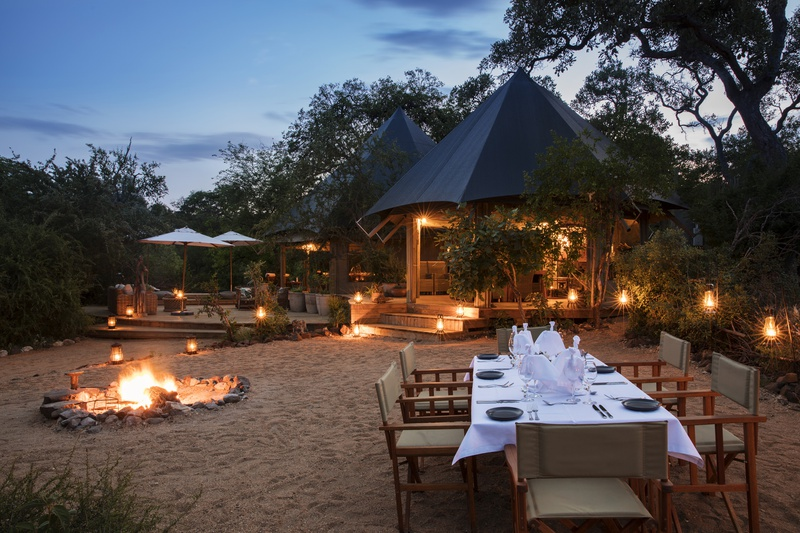 Romantic ambiance around the fire at Safari Trails Camp