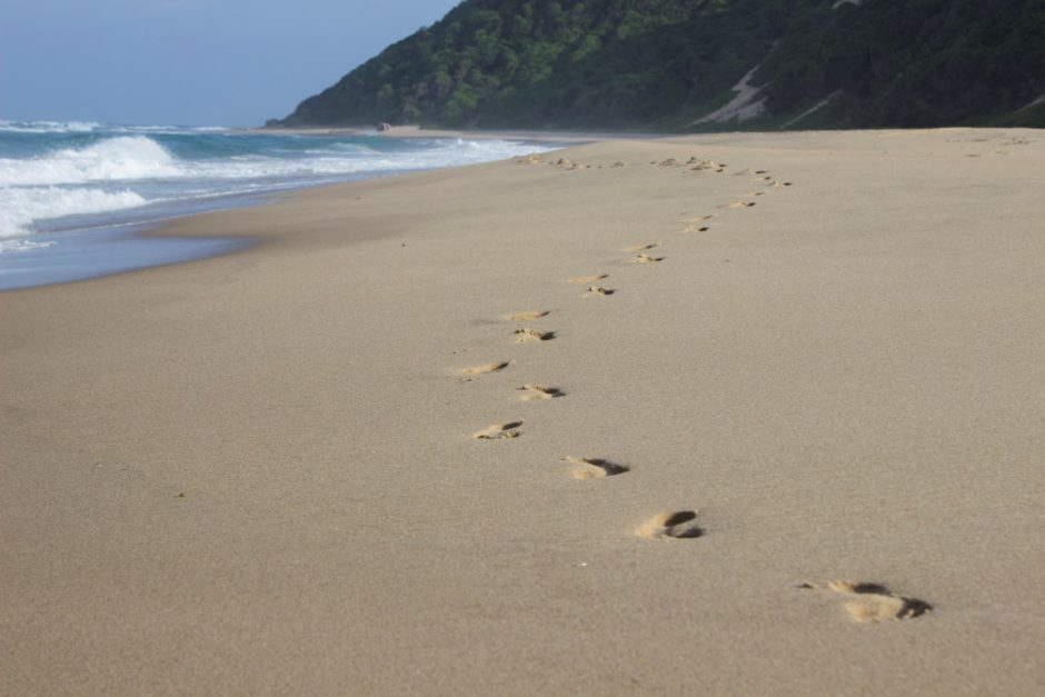 Footsteps on the beach in front of Thonga Beach Lodge
