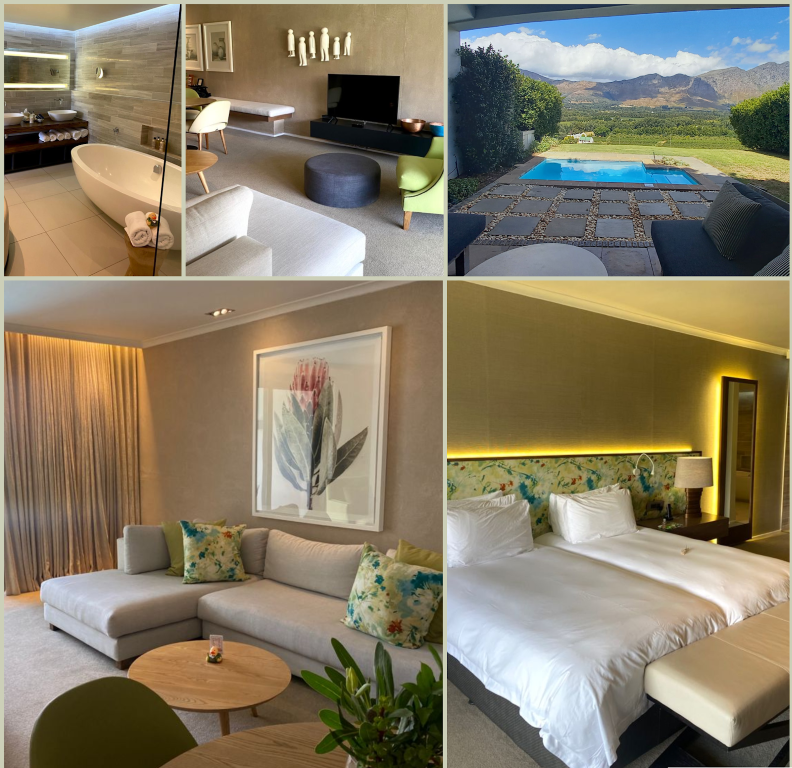 The Cap Classique Suite features beautifully decorated, modern spaces