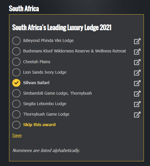 Premios Silvan World Travel